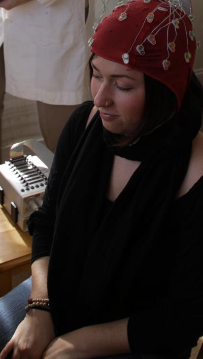 Patricia Spurio meditates while having her EEG measured. Credit: © Maharishi University of Management